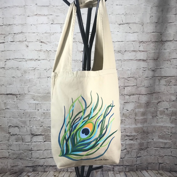 Hobo Sling Purse with Painted Peacock Feather c4cef8ad21fc1
